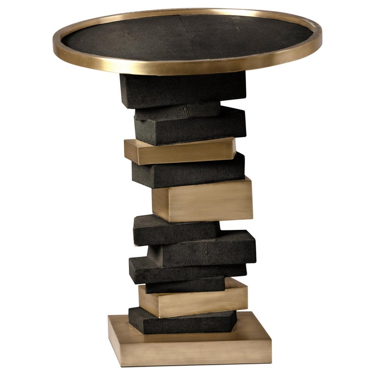 Bullion Side Table in Black Shagreen and Bronze-Patina Brass by Kifu Paris For Sale