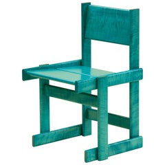 Bullnose Dining or Side Chair in Teal Curly Maple by Marco Campardo