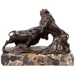"""Bulls Fighting"", Signed ""Mycca"", 19th Century"