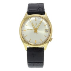 Bulova Accutron Silver Dial 18 Karat Yellow Gold Leather Quartz Men's Watch