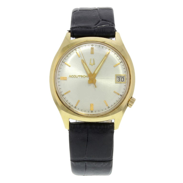 7687efded26 Bulova Accutron Silver Dial 18 Karat Yellow Gold Leather Quartz Men s Watch  For Sale