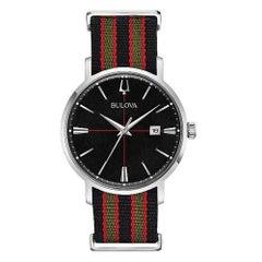 Bulova Aerojet Steel Striped Nylon Strap Black Dial Quartz Mens Watch 96B317