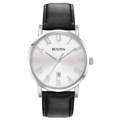 Bulova American Clipper Stainless Steel Silver Dial Quartz Mens Watch 96B312