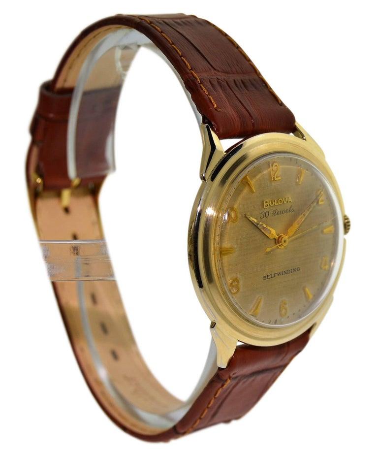 Women's or Men's Bulova Yellow Gold Filled Art Deco Original Dial Self winding Wristwatch, 1960s For Sale