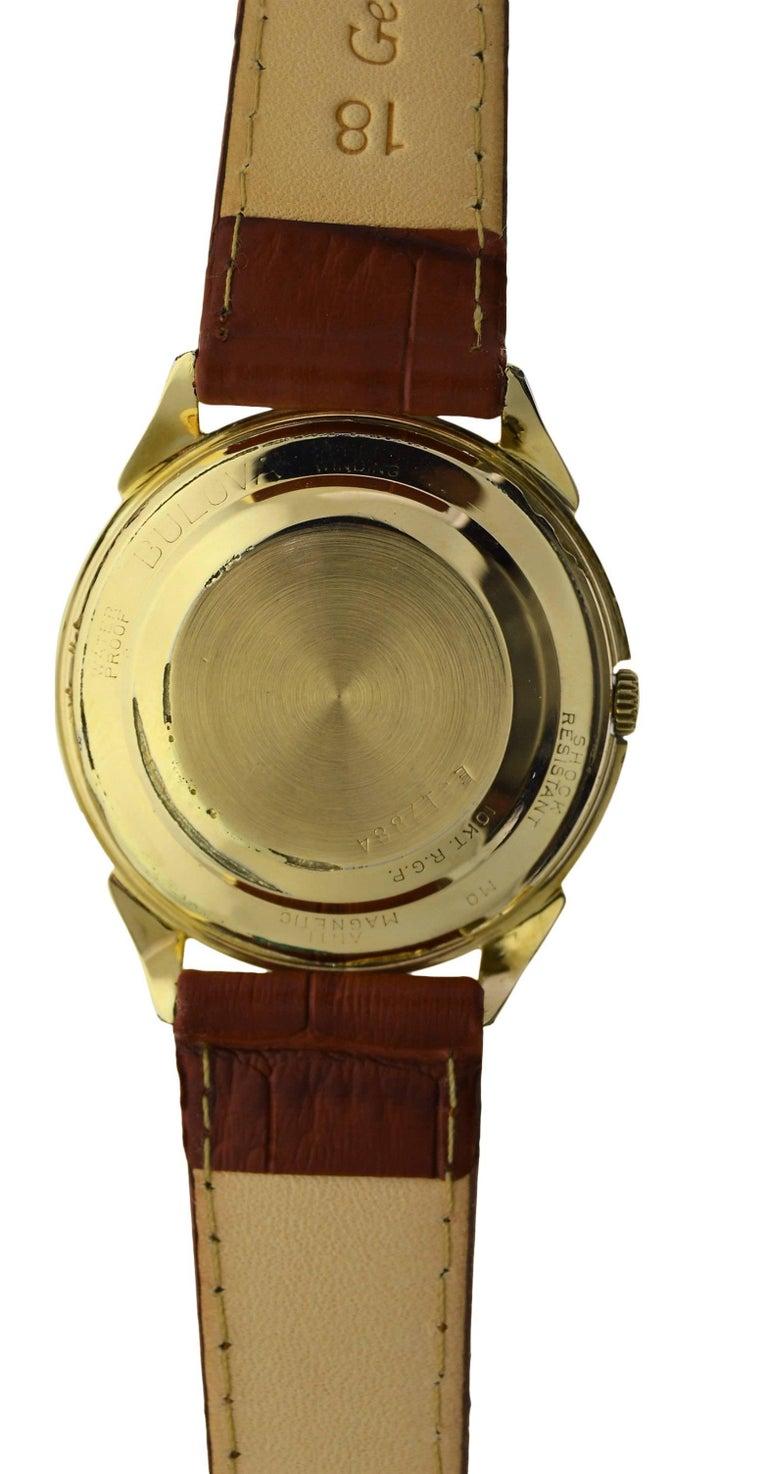Bulova Yellow Gold Filled Art Deco Original Dial Self winding Wristwatch, 1960s For Sale 3