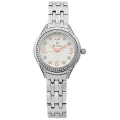 Bulova Crystal Collection Stainless Steel Silver Dial Quartz Ladies Watch 96X125