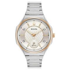 Bulova Curv Stainless Steel Silver Diamond Dial Quartz Ladies Watch 98P182