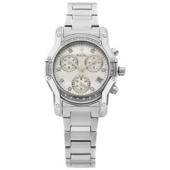 Bulova Diamond Accent Stainless Steel Silver Dial Quartz Womens Watch 96R138