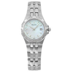 Bulova Diamond Stainless Steel Mother of Pearl Dial Quartz Ladies Watch 96R126