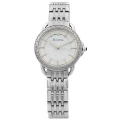 Bulova Diamond Stainless Steel Mother of Pearl Dial Quartz Ladies Watch 96R146