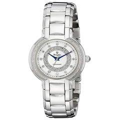 Bulova Diamonds Steel Analog Display Quartz Silver Womens Watch 96R169