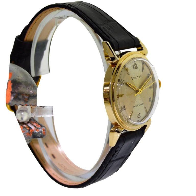 Women's or Men's Bulova Gold Filled Quartered Dial Art Deco Self winding Wristwatch, circa 1960s For Sale