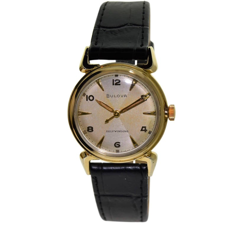 Bulova Gold Filled Quartered Dial Art Deco Self winding Wristwatch, circa 1960s For Sale