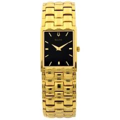 Bulova Gold Tone Stainless Steel Black Dial Quartz Men's Watch 97X100