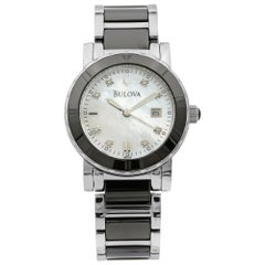 Bulova Highbridge Steel Black Ceramic MOP Diamond Dial Ladies Watch 98P122