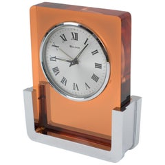 Bulova Japan Wind Up Alarm Table Clock Copper Lucite Chrome