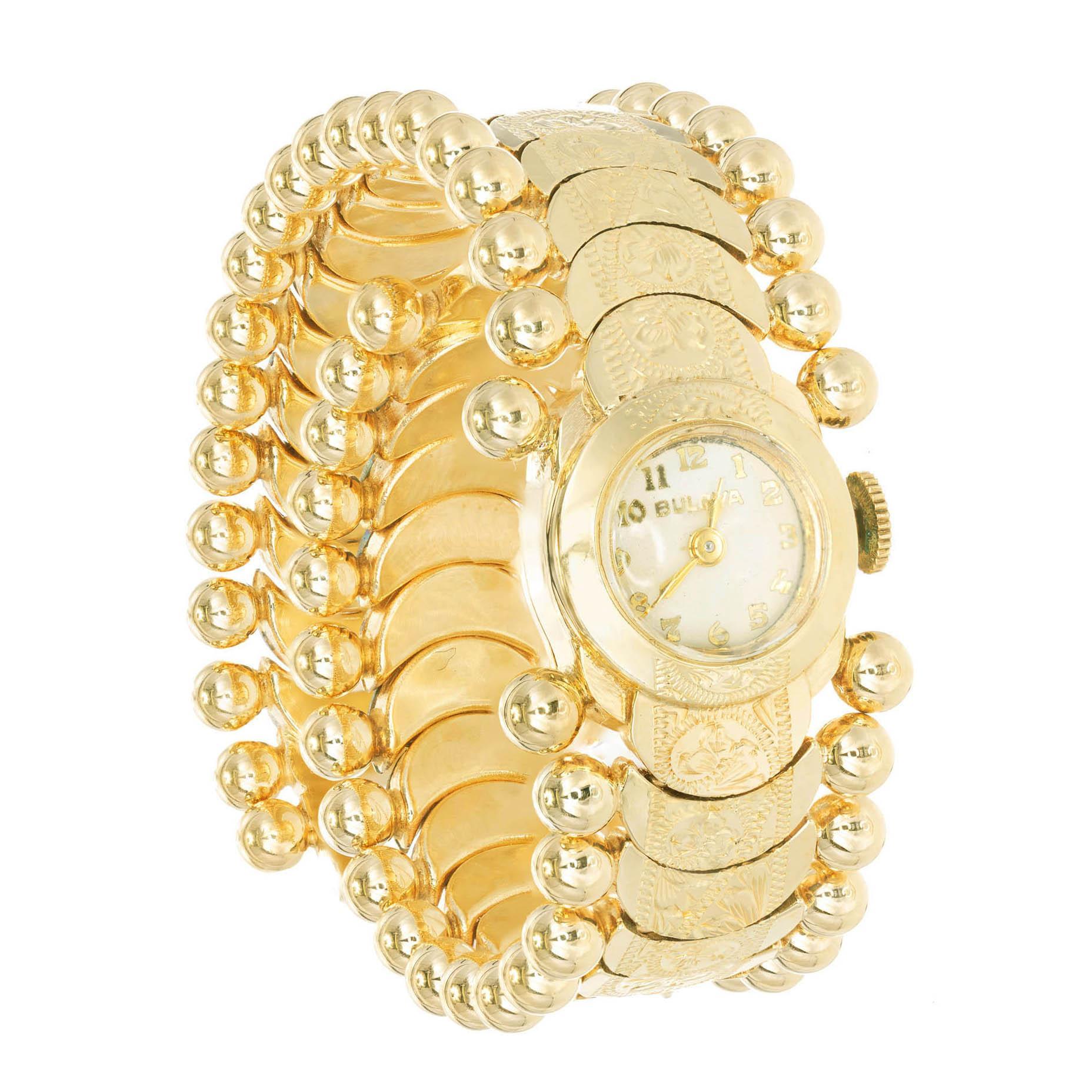 Bulova Ladies Yellow Gold Art Deco Manual Wind Wristwatch