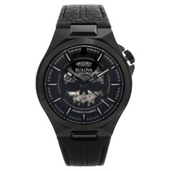Bulova Maquina Steel Black Skeleton Dial Automatic Mens Watch 98A238