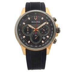Bulova Marine Star Steel Rose Gold Tone Black Dial Quartz Men's Watch 98B311
