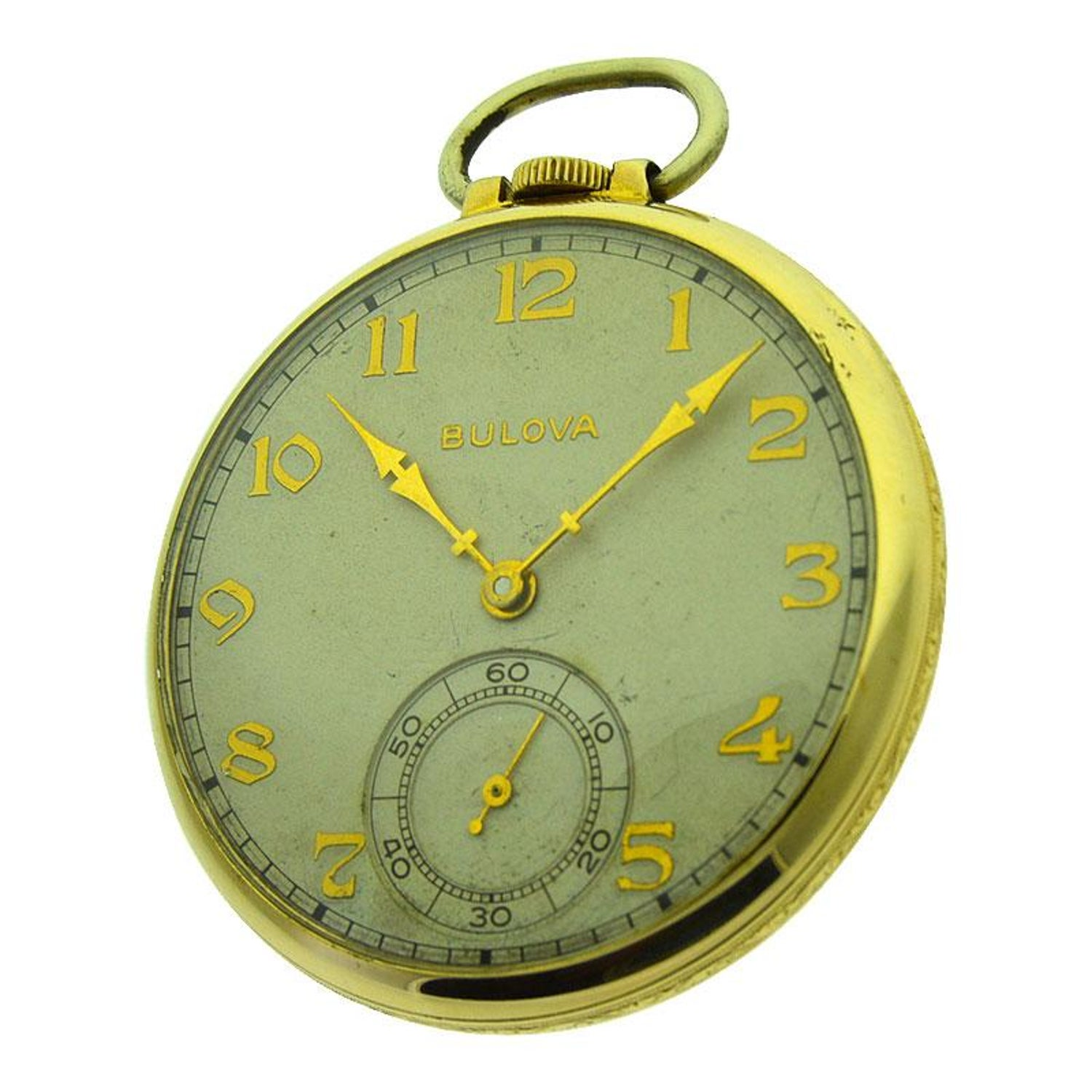 426a96b65 Bulova Open Faced Pocket Watch with Original Dial, circa 1940s For Sale at  1stdibs
