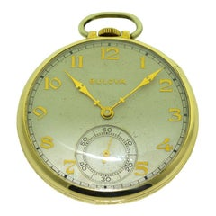 Bulova Open Faced Pocket Watch with Original Dial, circa 1940s