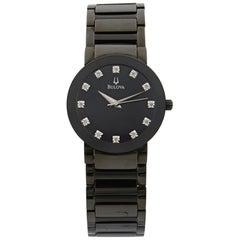 Bulova Stainless Steel Diamond Accented Dial Quartz Men's Watch 98D001