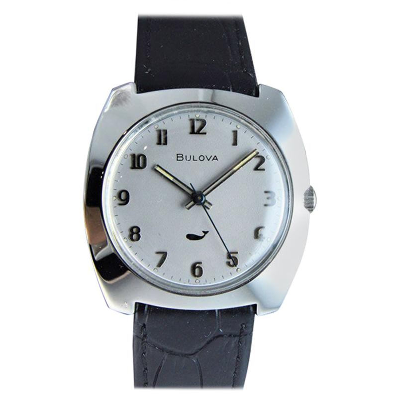 Bulova Stainless Steel Moderne Style Manual Winding circa 1960s or 1970s