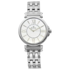 Bulova Stainless Steel Mother of Pearl Dial Quartz Ladies Watch 96L156