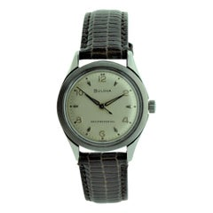 Bulova Steel Art Deco Round Wristwatch, circa 1960s with Original Dial