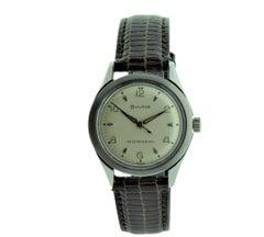 Bulova Steel Art Deco Round Wristwatch, circa 1960s with Original Dial