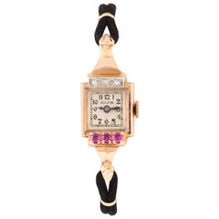 Bulova Women's Art Deco 14 Karat Rose Gold Diamond and Ruby Dress Watch
