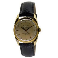 Bulova Yellow Gold Filled Art Deco Automatic Wristwatch, circa 1960s
