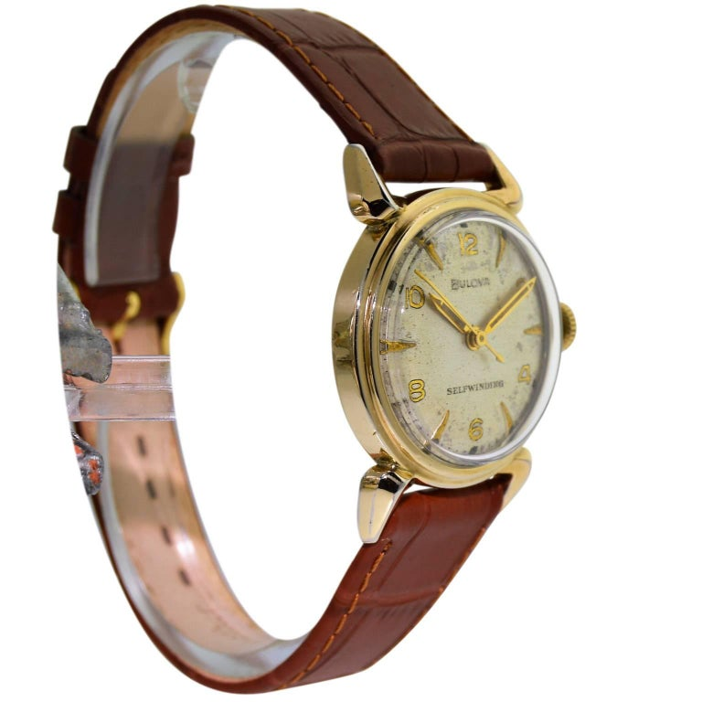 Women's or Men's Bulova Yellow Gold Filled Art Deco Self Winding Wristwatch, circa 1960s For Sale