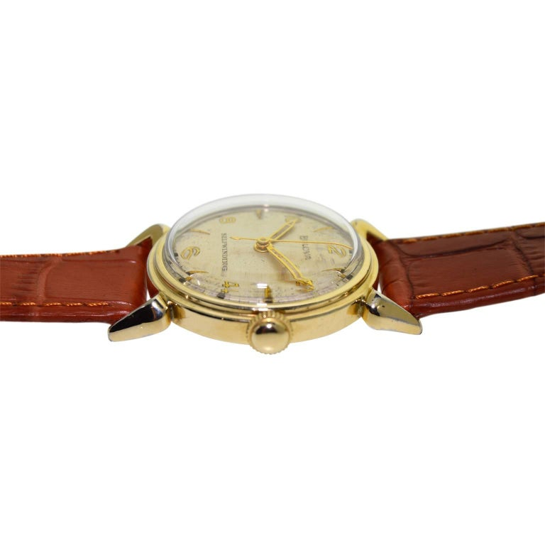 Bulova Yellow Gold Filled Art Deco Self Winding Wristwatch, circa 1960s For Sale 1