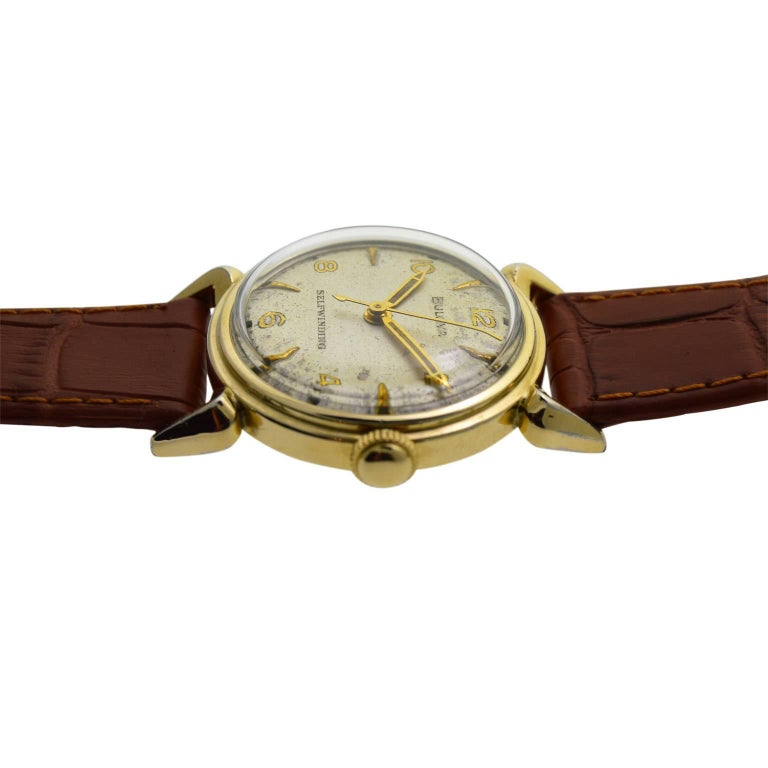 Bulova Yellow Gold Filled Art Deco Self Winding Wristwatch, circa 1960s For Sale 2