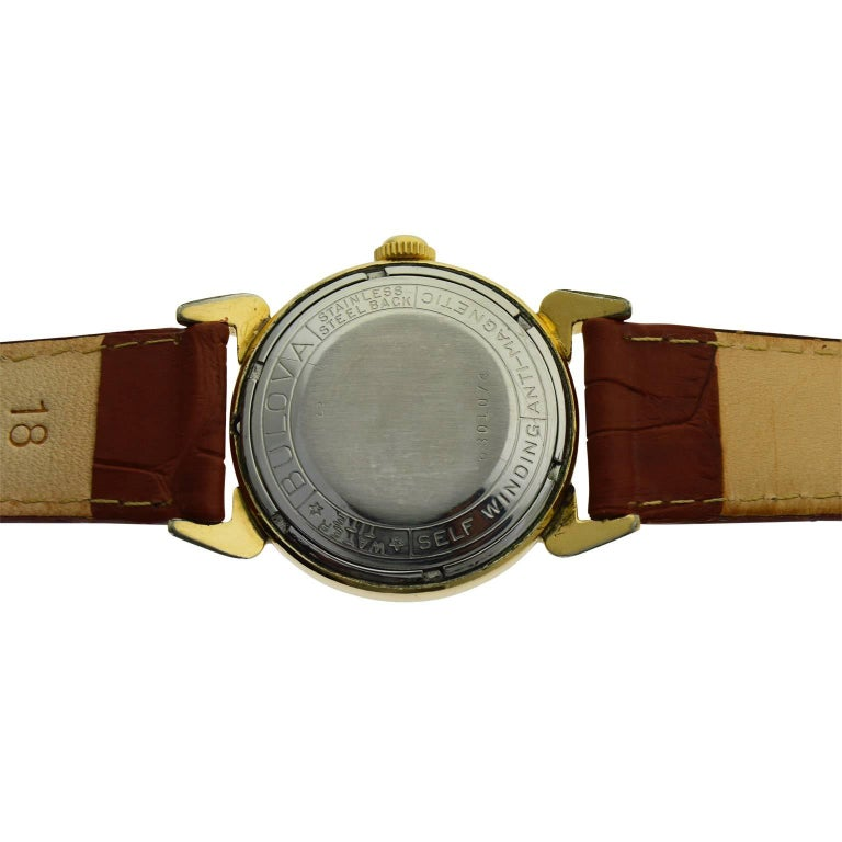 Bulova Yellow Gold Filled Art Deco Self Winding Wristwatch, circa 1960s For Sale 3