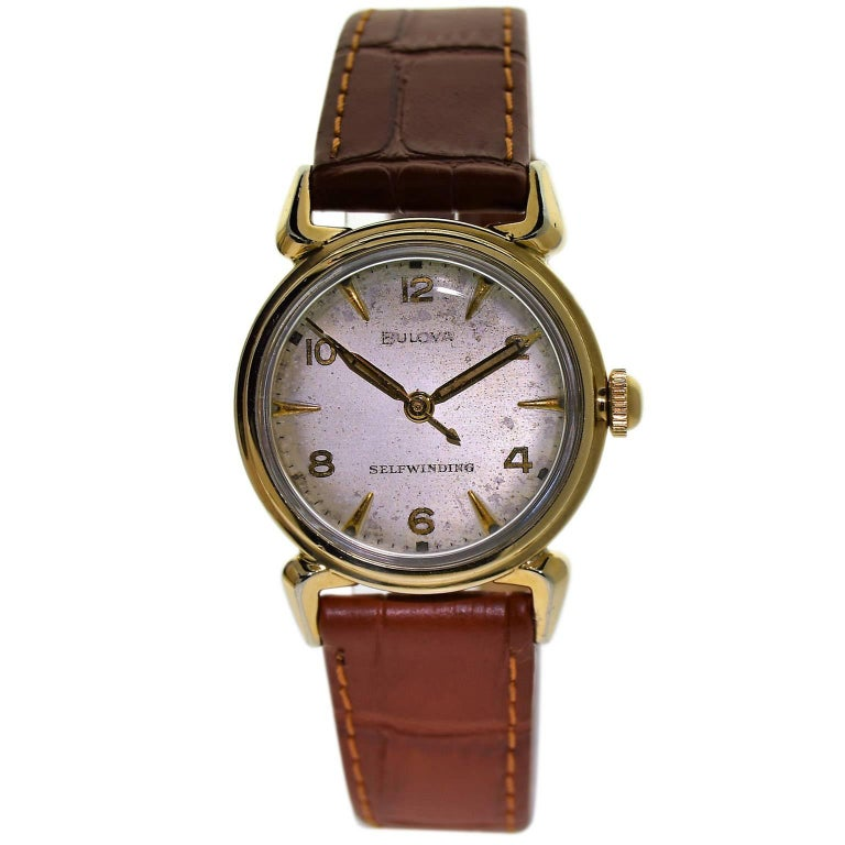 Bulova Yellow Gold Filled Art Deco Self Winding Wristwatch, circa 1960s For Sale