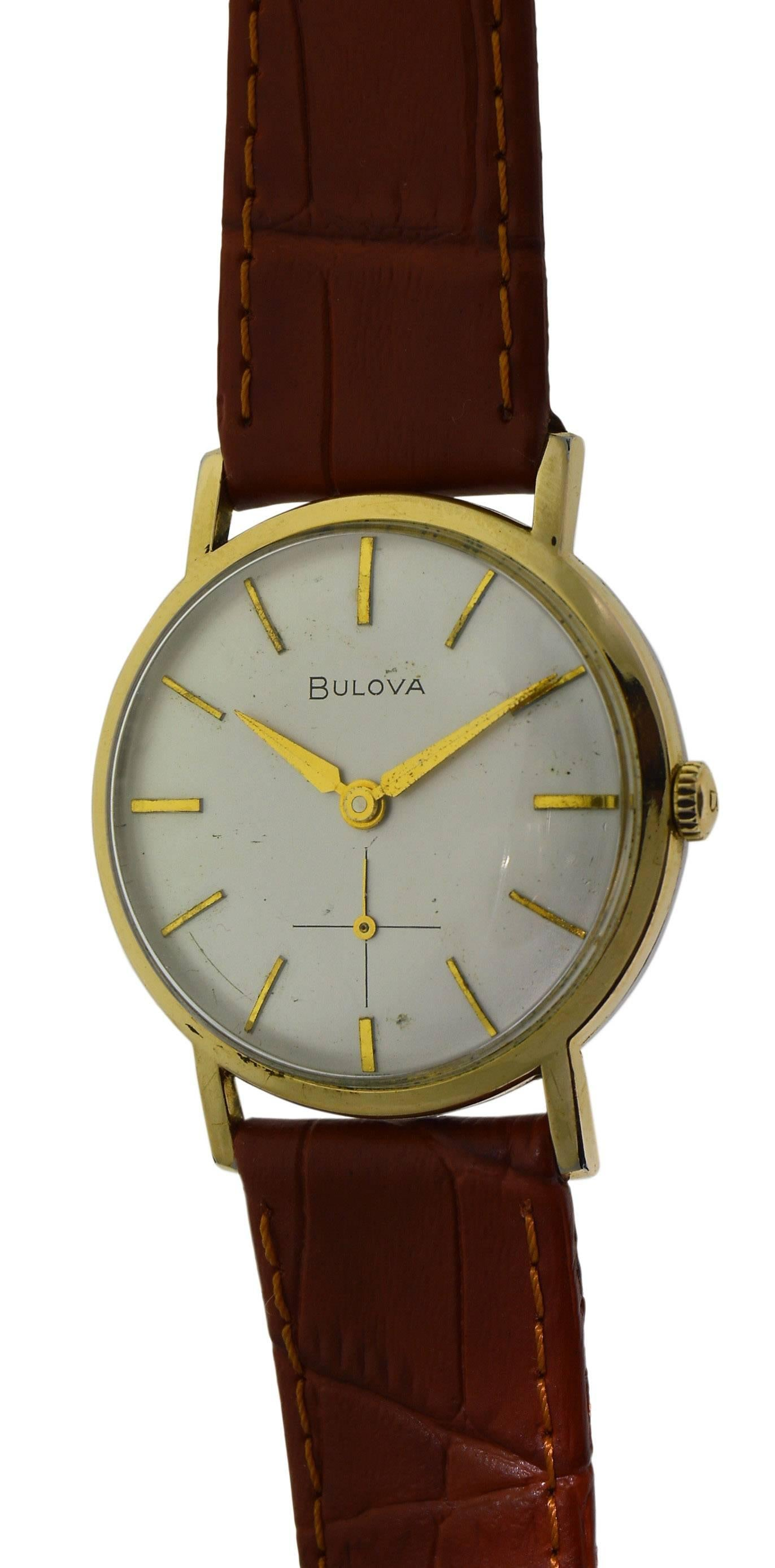 bulova yellow gold filled original dial round manual watch for sale rh 1stdibs com bulova chronograph watch manual bulova moon watch manual