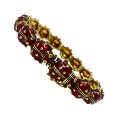 Lady Bug Diamond, Enamel and Yellow Gold Bracelet in 18 Karat