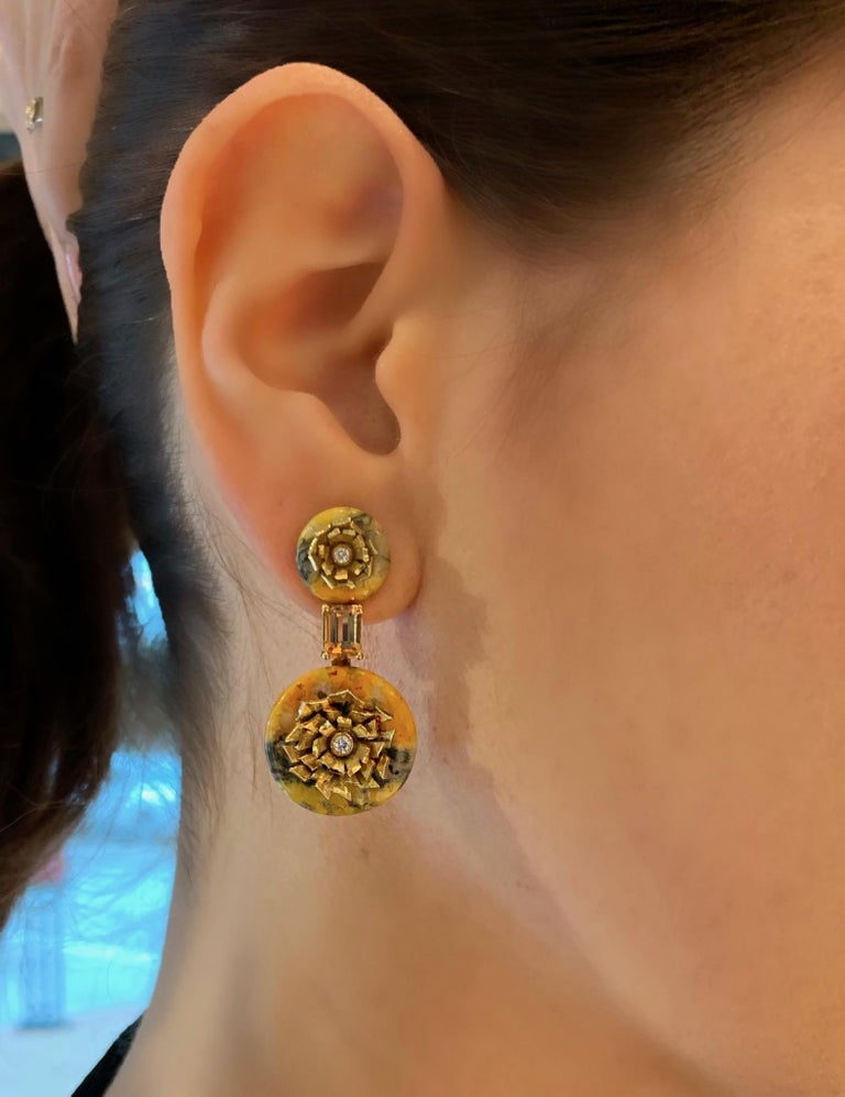 "Modern Bumble Bee Jasper and Imperial Topaz ""Donut"" Series Earrings by Andrew Glassford For Sale"