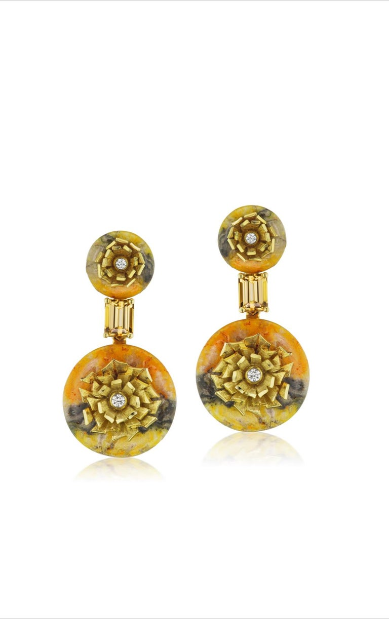 "Round Cut Bumble Bee Jasper and Imperial Topaz ""Donut"" Series Earrings by Andrew Glassford For Sale"