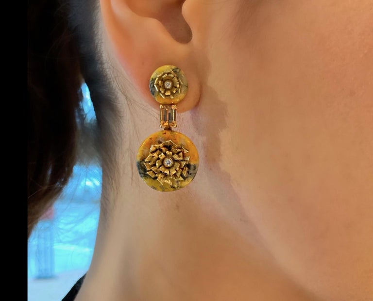 "Bumble Bee Jasper and Imperial Topaz ""Donut"" Series Earrings by Andrew Glassford In New Condition For Sale In Dallas, TX"