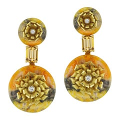 "Bumble Bee Jasper and Imperial Topaz ""Donut"" Series Earrings by Andrew Glassford"