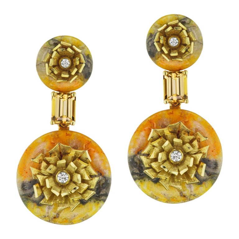 "Bumble Bee Jasper and Imperial Topaz ""Donut"" Series Earrings by Andrew Glassford For Sale"