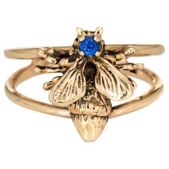 Bumble Bee Ring Vintage 14 Karat Yellow Gold Estate Fine Insect Jewelry