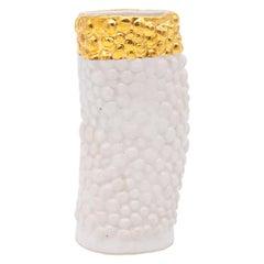 Bumpy Ceramic Vase with Gold Trim