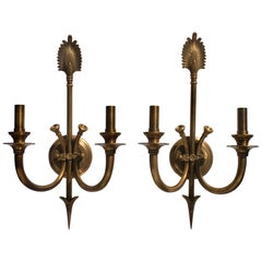 Bunny Williams Vintage Brass Plume and Arrow Classic Wall Sconce Lights, Pair