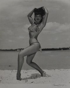 Bettie Page 'Two-Peace Leopard Print Suit', Key Biscayne, FL, 1954