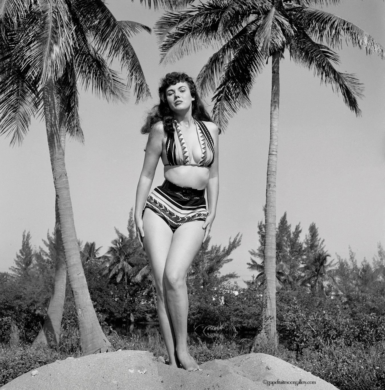 Bunny Yeager Self-Portrait in Seminole Indians Patterned Bikini