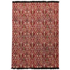 Burano Beige and Burgundy Red Wool Rug with Green Accents